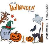 set of halloween icons.... | Shutterstock . vector #570608320