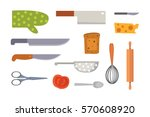 vector set kitchen utensils.... | Shutterstock .eps vector #570608920