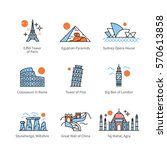 City travel landmarks, tourist attraction in various countries of Europe, Asia & Africa. Thin line art icons with flat colorful design elements. Modern linear style illustrations isolated on white. | Shutterstock vector #570613858