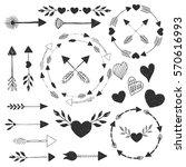 hearts and arrows. vector.... | Shutterstock .eps vector #570616993