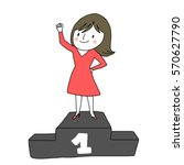 cute woman standing on winner...