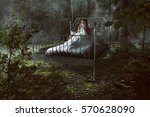 woman wakes up in the forest | Shutterstock . vector #570628090