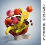 shopping basket full of fresh... | Shutterstock . vector #570636250
