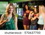 portrait of smiling blonde... | Shutterstock . vector #570637750