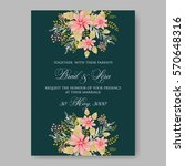 floral wreath wedding invitation | Shutterstock .eps vector #570648316
