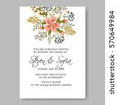 floral wreath wedding invitation | Shutterstock .eps vector #570649984