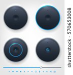 set of glossy shiny button and... | Shutterstock .eps vector #570653008