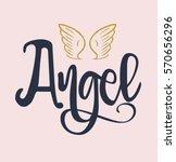 slogan angel vector print.for t ... | Shutterstock .eps vector #570656296