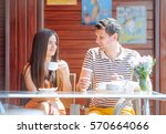 couple of happy tourists... | Shutterstock . vector #570664066