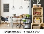 spacious dining room with... | Shutterstock . vector #570665140