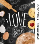 poster bakery with illustrated... | Shutterstock .eps vector #570672070