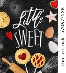 poster little sweets with... | Shutterstock .eps vector #570672538