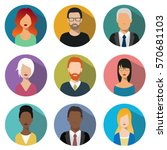 male and female faces avatars.... | Shutterstock .eps vector #570681103