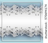 white laced frame with hearts ... | Shutterstock .eps vector #570694174