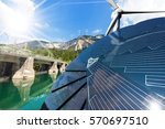 Small photo of Renewable Energy - Sunlight with solar panel. Wind with wind turbines. Water with dam for hydropower