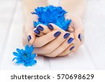 beautiful blue manicure with... | Shutterstock . vector #570698629