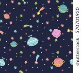deep space cartoon seamless... | Shutterstock .eps vector #570701920