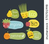 eco and bio food labels set... | Shutterstock .eps vector #570701998