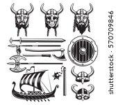 vintage viking elements set... | Shutterstock .eps vector #570709846