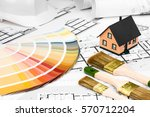 construction plans with... | Shutterstock . vector #570712204