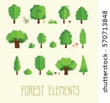 Cartoon Trees Isolated On A...