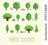 Cartoon Trees Isolated On A...