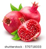 pomegranate isolated on white... | Shutterstock . vector #570718333