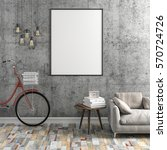 3d interior with blank frame... | Shutterstock . vector #570724726
