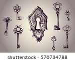 drawn keys and lock. vector set ... | Shutterstock .eps vector #570734788