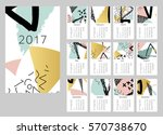 calendar for 2017. set of 12... | Shutterstock . vector #570738670