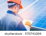 electrician working on checking ... | Shutterstock . vector #570741004