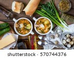 homemade soup with chicken... | Shutterstock . vector #570744376
