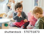 cute little girl and boy... | Shutterstock . vector #570751873