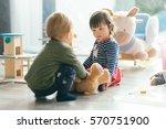 cute little girl and boy... | Shutterstock . vector #570751900