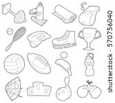 sport items icons set. outline... | Shutterstock .eps vector #570756040