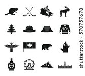 canada travel icons set. simple ... | Shutterstock .eps vector #570757678