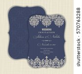 wedding invitation with baroque ... | Shutterstock .eps vector #570763288