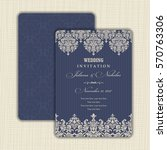 wedding invitation with baroque ... | Shutterstock .eps vector #570763306