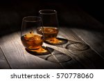 Two Glasses Of Whiskey With Ic...