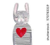 watercolor rabbit with heart. | Shutterstock . vector #570783319