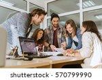 start up team of freelancers in ... | Shutterstock . vector #570799990