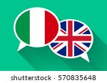 two white speech bubbles with... | Shutterstock . vector #570835648