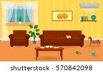 living room interior in bright... | Shutterstock .eps vector #570842098