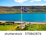 Icelandic flag with fjord...