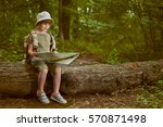 young girl scout  explores ... | Shutterstock . vector #570871498