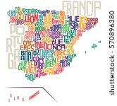 spain typographic map | Shutterstock .eps vector #570896380