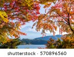 Stock photo mount fuji in autumn season of japan 570896560