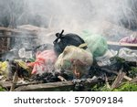 plastic waste and rubbish open... | Shutterstock . vector #570909184