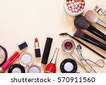 set cosmetics   makeup brushes  ... | Shutterstock . vector #570911560