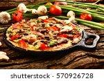 tasty brunch mushroom spinach... | Shutterstock . vector #570926728